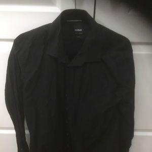 Black checkered dress shirt slim fit